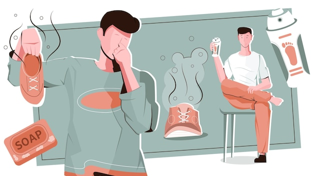 Composition plate d'hommes d'odeur de pied avec des personnages masculins plats avec des chaussures puantes et du savon avec du déodorant