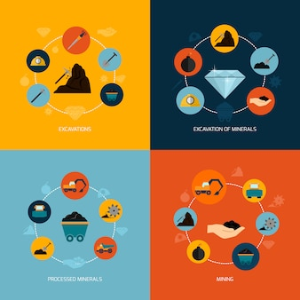 Composition plate d'icônes minières