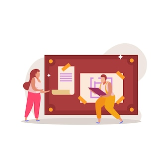 Composition plate de jeu de quête avec illustration de personnages de doodle