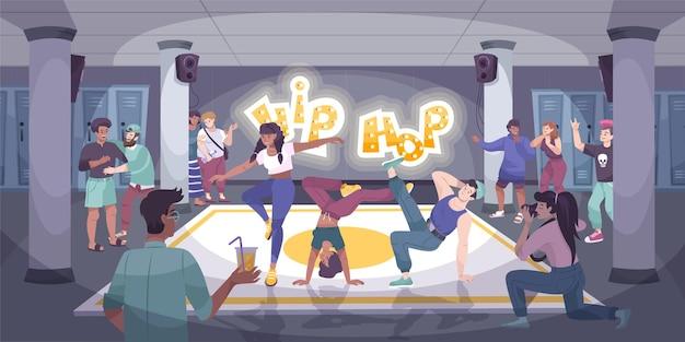 Composition plate moderne de danseur avec un groupe de danseurs hip hop se produisant lors d'un événement intérieur avec illustration du public