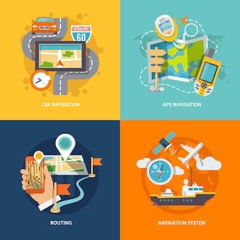 Composition plate de navigation icônes