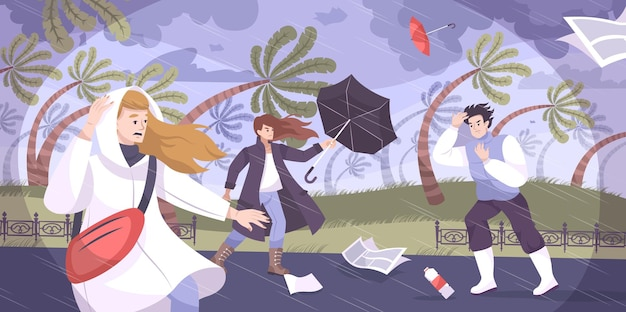 Composition plate d'ouragan météorologique avec paysage tropical extérieur avec des palmiers soufflés par le vent et illustration de personnages humains
