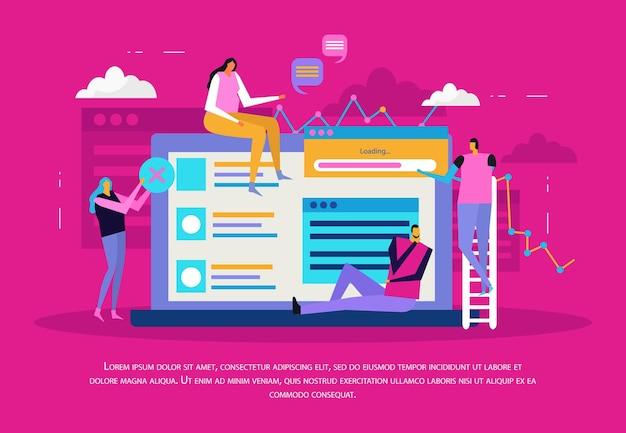 Composition plate de personnes et d'interfaces avec des fenêtres d'écran d'ordinateur portable et des pictogrammes avec des personnages humains et une illustration vectorielle de texte