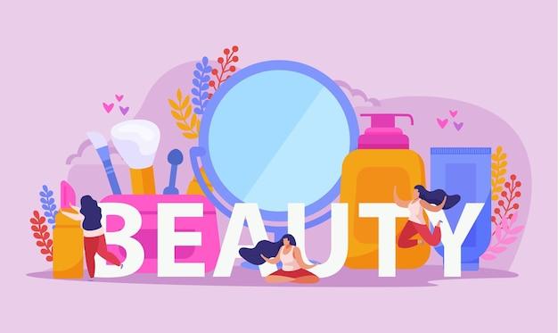 Composition plate de salon de beauté avec grand titre deux filles et grands outils de beauté abstraites