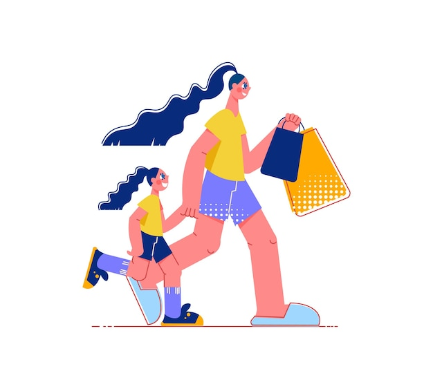 Composition plate de shopping en famille avec des personnages de femme marchant avec une petite fille tenant des sacs à provisions