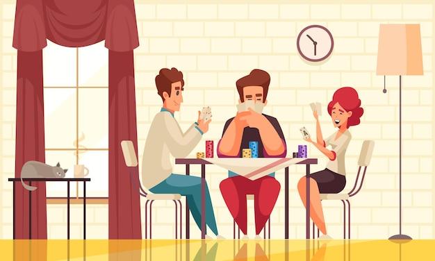 Composition de poker de jeux de société avec trois personnes jouant à un jeu à table dans la salle