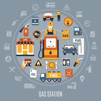 Composition de pompe à carburant gris plat avec grand cercle et éléments colorés plats