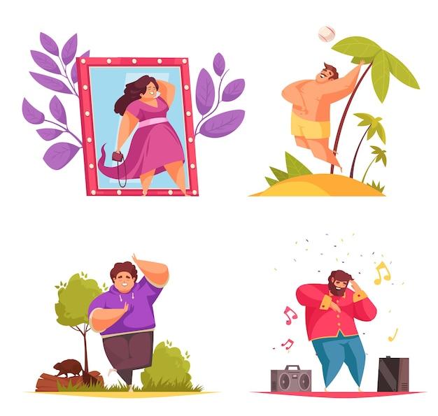 Composition positive du corps sertie de femme dans la cabine d'essayage homme sur la plage, faire du yoga et écouter de la musique