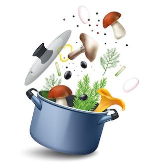 Composition de pot de soupe aux champignons