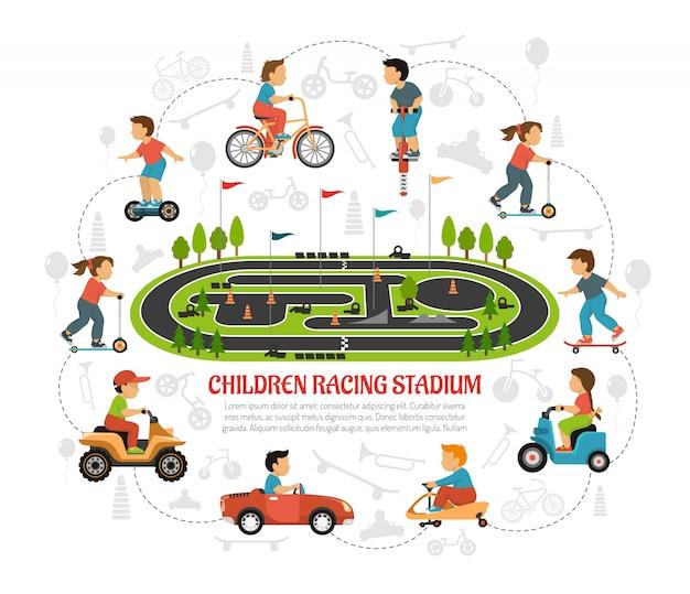 Composition pour stade de course pour enfants