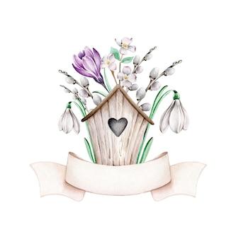 Composition de printemps avec nichoir en bois, fleurs de printemps et ruban