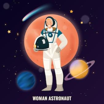Composition de profession féminine avec des symboles d'astronaute à plat