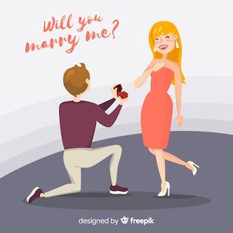 Composition de proposition de mariage dessinée à la main