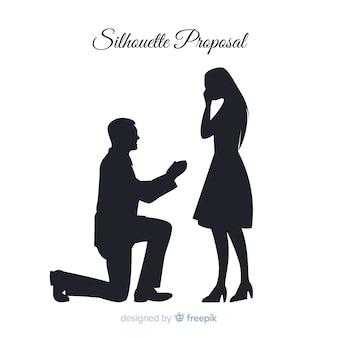 Composition de proposition de mariage avec style silhouette