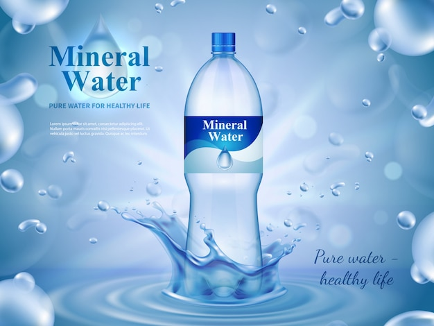 Composition publicitaire d'eau minérale avec symboles d'eau en bouteille