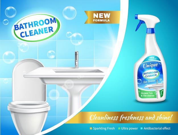 Composition publicitaire pour nettoyant de salle de bain