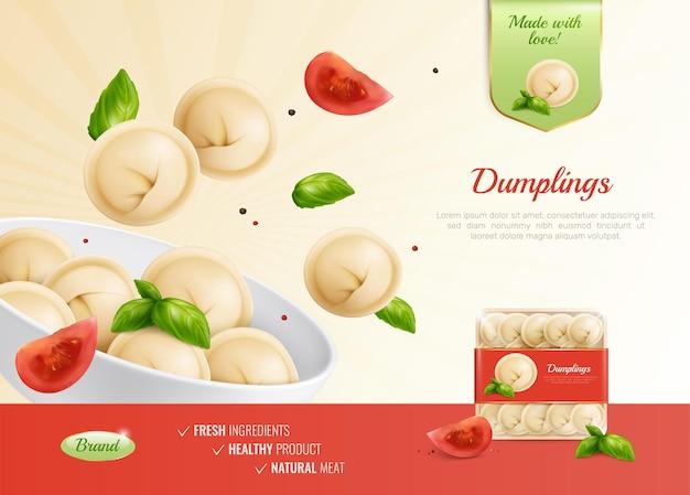 Composition publicitaire de ravioli manti de boulettes avec des tomates de plat réalistes et un pack tourné avec une illustration de texte modifiable