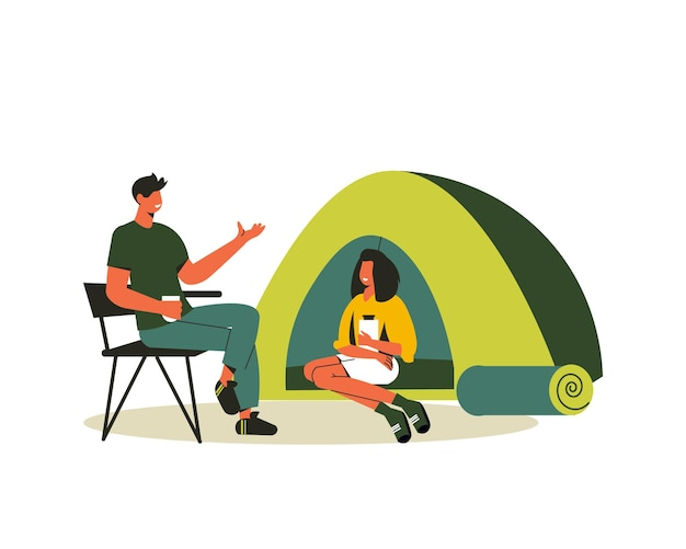 Composition de randonnée avec une femme assise dans une tente et un homme sur une illustration de chaise pliable