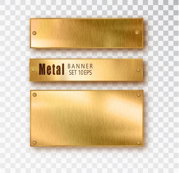 Composition réaliste de bannière en métal doré