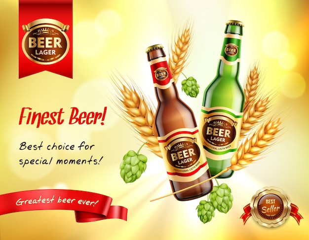 Composition réaliste de bière ad