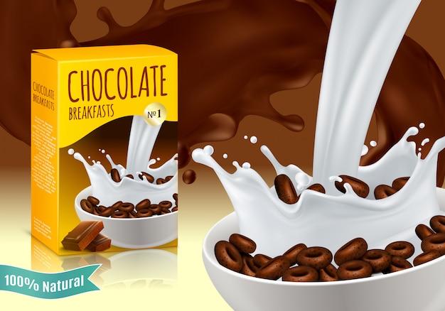 Composition réaliste de céréales de petit déjeuner au chocolat