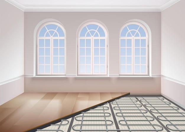 Composition réaliste de chauffage au sol avec vue sur la pièce avec fenêtres et tubes métalliques sous la surface du sol