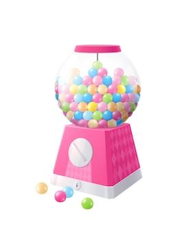 Composition réaliste de chewing-gum avec distributeur automatique en forme de boule avec des boules de gomme colorées