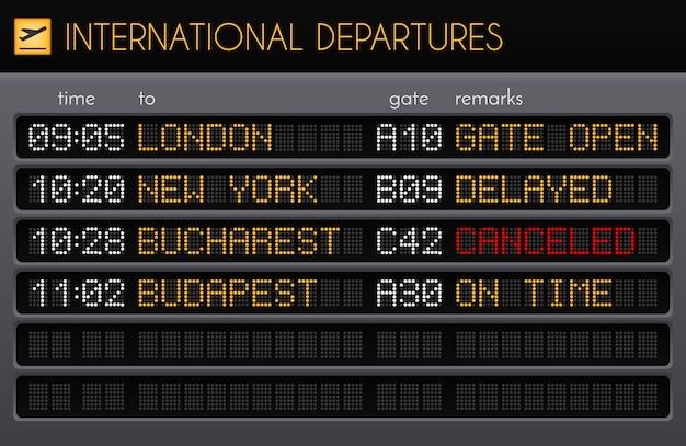 Composition réaliste du conseil d'administration de l'aéroport électronique avec illustration des descriptions des portes et des heures des départs internationaux