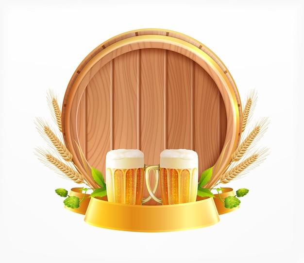 Composition réaliste de l'emblème de la bière en tonneau en bois avec des morceaux de verres de têtes de blé et de fût de bière en bois