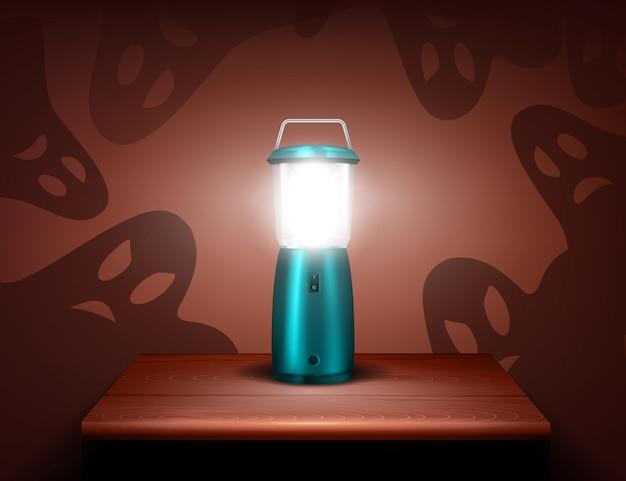 Composition réaliste de fantômes de lampe de poche bleue