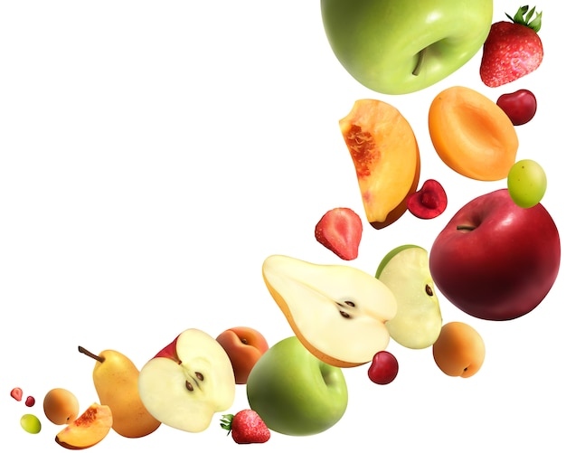 Composition réaliste de fruits tombant