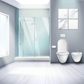 Composition réaliste de l'intérieur de la salle de bains simple