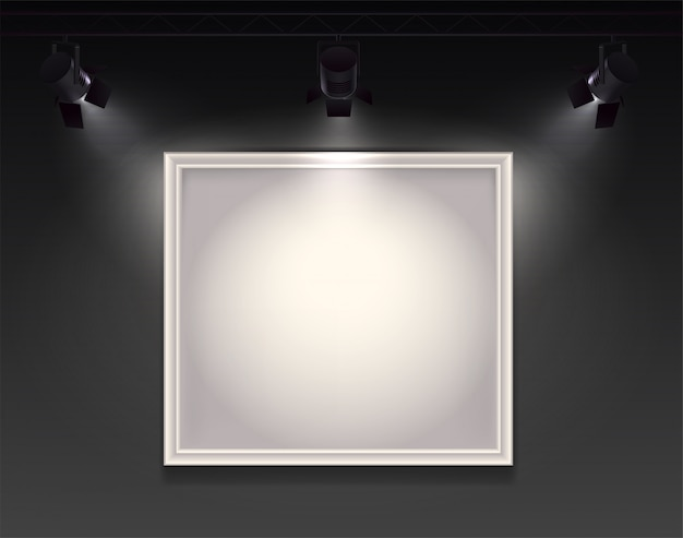 Composition réaliste de projecteurs avec vue sur le mur avec cadre vide suspendu mis en évidence par trois spots