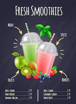 Composition réaliste de smoothies frais