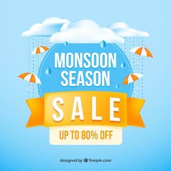 Composition réaliste de la vente de la saison de la mousson