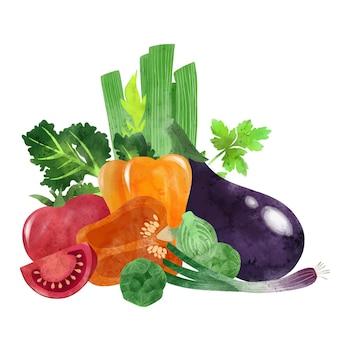 Composition de récolte de légumes d'été dessinée à la main