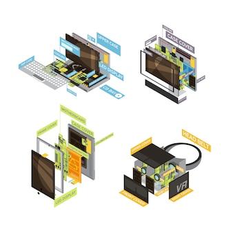 Composition de régime de quatre gadgets colorés carrés sertie d'illustrations vectorielles de types et de pièces d'ordinateurs et de tablettes
