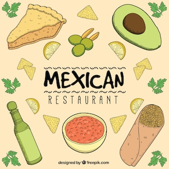 Composition de restaurant mexicain dessiné à la main
