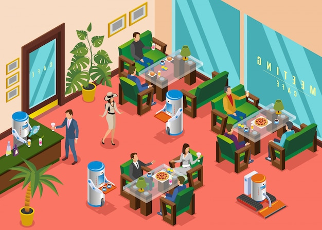 Composition de restaurant robotique de couleur isométrique