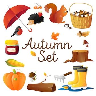 Composition ronde d'attributs saisonniers d'automne avec un parapluie rouge