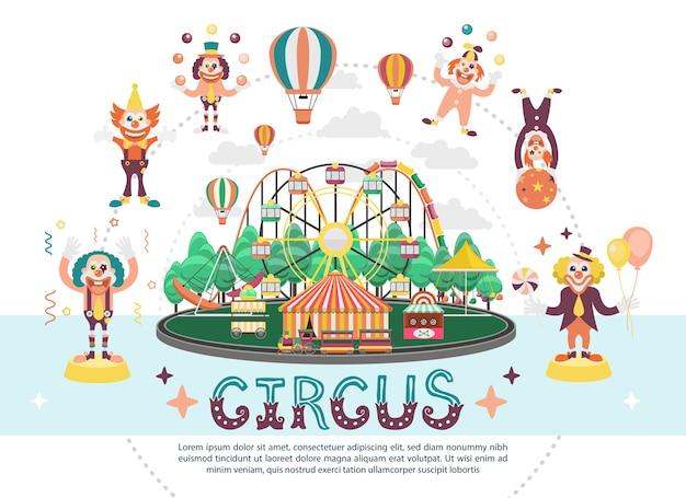 Composition ronde de carnaval de cirque plat