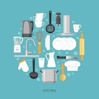 Composition ronde de cuisine