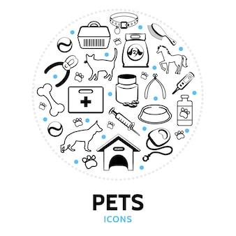 Composition ronde avec des éléments pour animaux de compagnie