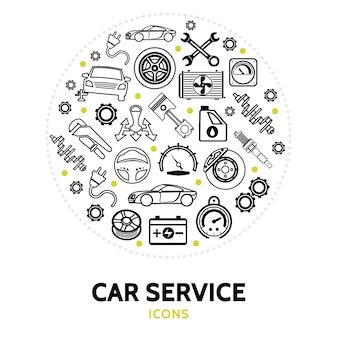 Composition ronde avec des éléments de service de voiture