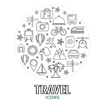 Composition ronde avec des éléments de voyage