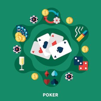 Composition ronde des icônes de poker au casino