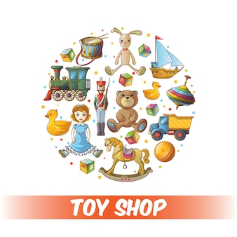 Composition ronde de jouets pour enfants