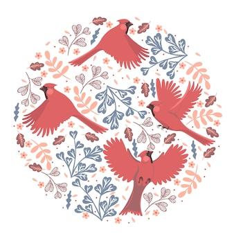Composition ronde avec oiseaux cardinaux rouges et éléments floraux