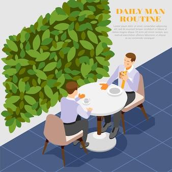 Composition de routine quotidienne avec deux hommes parlant et mangeant pendant la pause déjeuner 3d