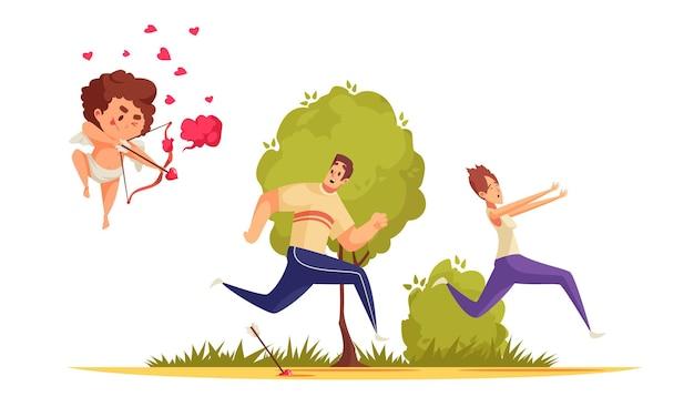 Composition de la saint-valentin cupidon de l'amour avec couple en cours d'exécution poursuivi par le personnage de garçon arc avec des icônes de coeur